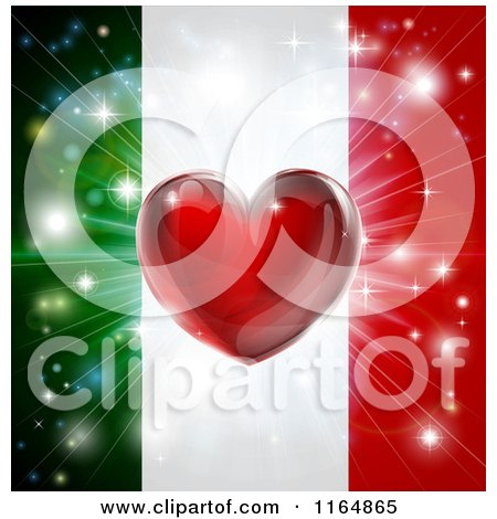Clipart of a Shiny Red Heart and Fireworks over an Italian Flag - Royalty Free Vector Illustration by AtStockIllustration