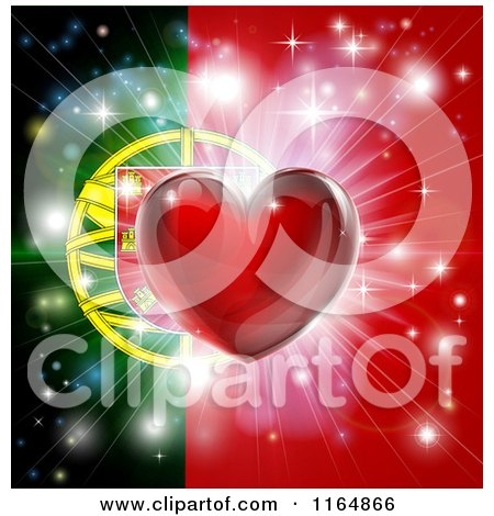 Clipart of a Shiny Red Heart and Fireworks over a Portugese Flag - Royalty Free Vector Illustration by AtStockIllustration
