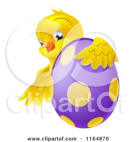 Cartoon of a Chick Hugging a Polka Dot Easter Egg - Royalty Free Vector Clipart by AtStockIllustration