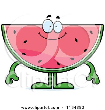 Cartoon of a Happy Watermelon Mascot - Royalty Free Vector Clipart by Cory Thoman
