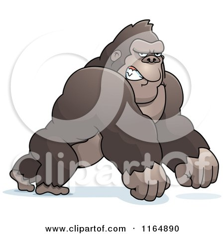 Cartoon of a Mad Gorilla Leaning Forward on His Knuckles - Royalty Free Vector Clipart by Cory Thoman