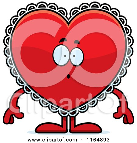 Cartoon of a Surprised Red Doily Valentine Heart Mascot - Royalty Free Vector Clipart by Cory Thoman