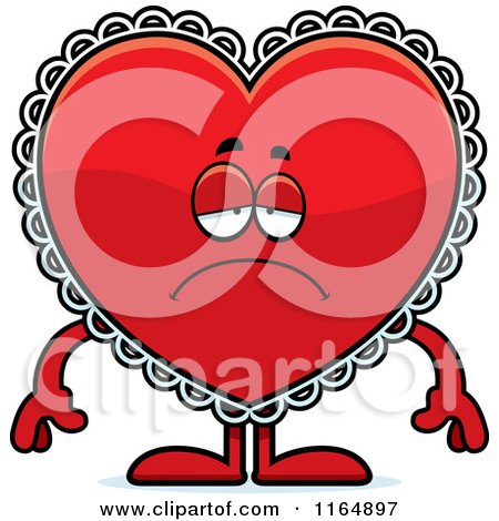 Cartoon of a Depressed Red Doily Valentine Heart Mascot - Royalty Free Vector Clipart by Cory Thoman