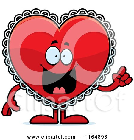 Cartoon of a Red Doily Valentine Heart Mascot with an Idea - Royalty Free Vector Clipart by Cory Thoman