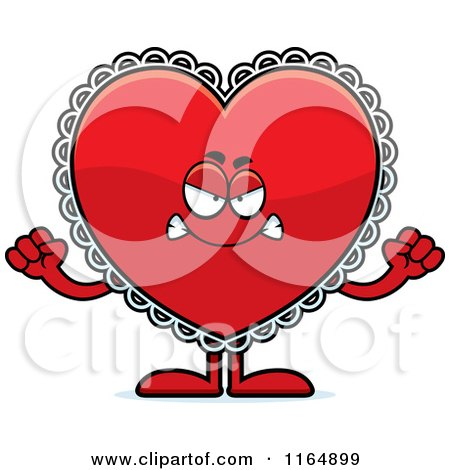Cartoon of a Mad Red Doily Valentine Heart Mascot - Royalty Free Vector Clipart by Cory Thoman