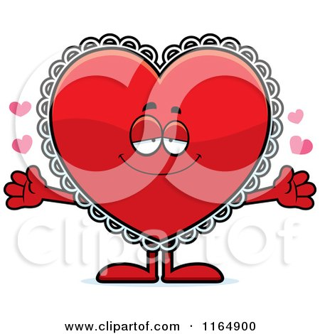 Cartoon of a Loving Red Doily Valentine Heart Mascot - Royalty Free Vector Clipart by Cory Thoman