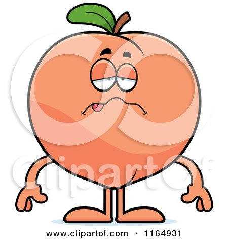 Clipart of a Cartoon Doodled Drunk Peach Character - Royalty Free ...