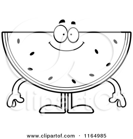 Cartoon Clipart A Happy Watermelon Mascot Vector