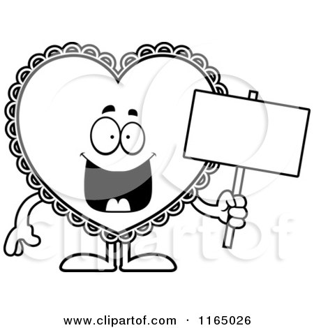 Cartoon Clipart Of A Doily Valentine Heart Mascot Holding a Sign - Vector Outlined Coloring Page by Cory Thoman