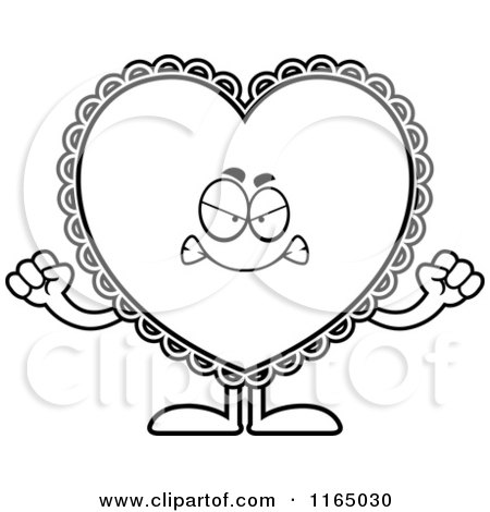 Cartoon Clipart Of A Mad Doily Valentine Heart Mascot - Vector Outlined Coloring Page by Cory Thoman