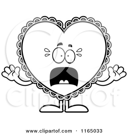 Cartoon Clipart Of A Scared Doily Valentine Heart Mascot - Vector Outlined Coloring Page by Cory Thoman