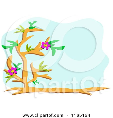 Cartoon of a Floral Tree and Blue Copyspace - Royalty Free Vector Clipart by bpearth