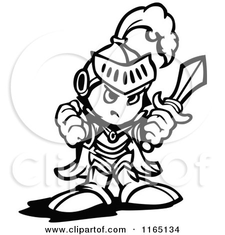 Cartoon of a Black and White Tough Knight Holding up a Fist and a Sword - Royalty Free Vector Clipart by Chromaco