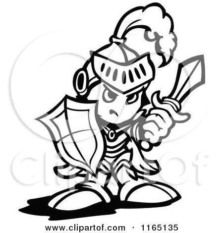 Cartoon of a Black and White Tough Knight Holding up a Shield and a Sword - Royalty Free Vector Clipart by Chromaco