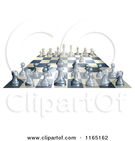 Clipart of a 3d Chess Board with White Having Made the First Move - Royalty Free Vector Illustration by AtStockIllustration
