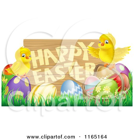Cartoon of a Happy Easter Sign with Chicks and Easter Eggs - Royalty Free Vector Clipart by AtStockIllustration