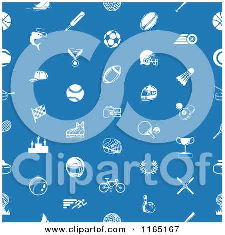 Clipart of a Seamless Blue Sports Pattern with White Icons - Royalty Free Vector Illustration by AtStockIllustration