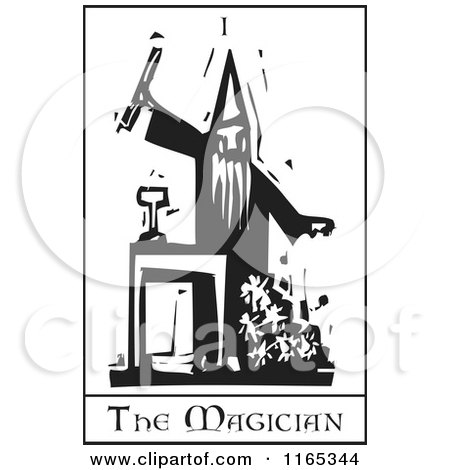 Clipart of a Tarot Card of the Magician Black and White Woodcut - Royalty Free Vector Illustration by xunantunich