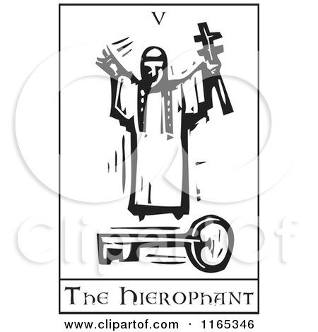 Clipart of a Tarot Card of the Hierophant Black and White Woodcut - Royalty Free Vector Illustration by xunantunich