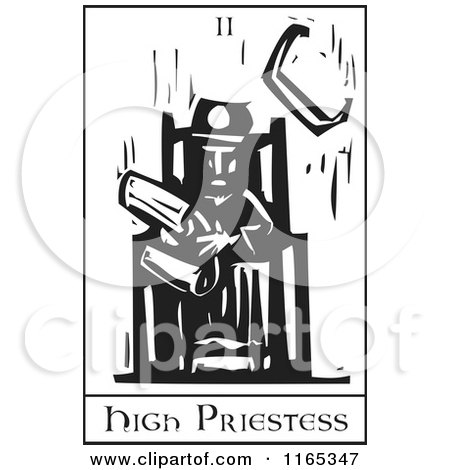 Clipart of a Tarot Card of the High Priestess Black and White Woodcut - Royalty Free Vector Illustration by xunantunich