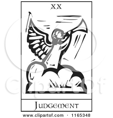 Clipart of a Tarot Card of Judgement Black and White Woodcut - Royalty Free Vector Illustration by xunantunich