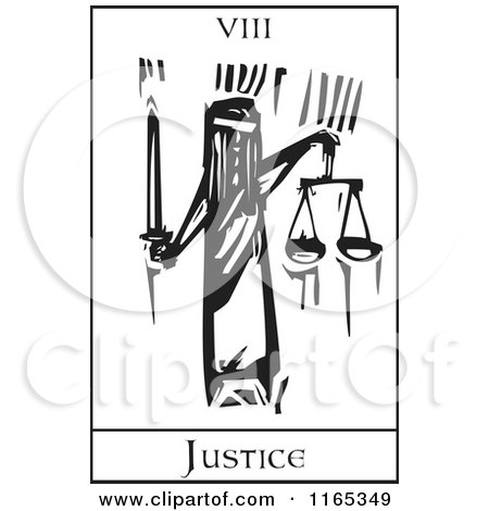Clipart of a Tarot Card of Justice Black and White Woodcut - Royalty Free Vector Illustration by xunantunich