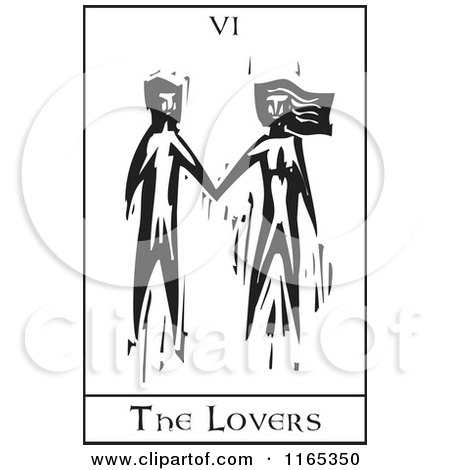 Clipart of a Tarot Card of the Lovers Black and White Woodcut - Royalty Free Vector Illustration by xunantunich