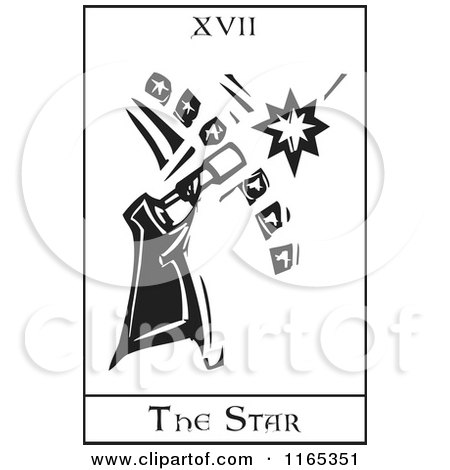 Clipart of a Tarot Card of the Star Black and White Woodcut - Royalty Free Vector Illustration by xunantunich