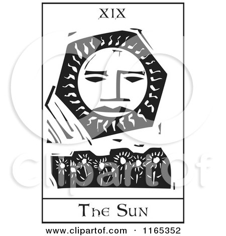 Clipart of a Tarot Card of the Sun Black and White Woodcut - Royalty Free Vector Illustration by xunantunich