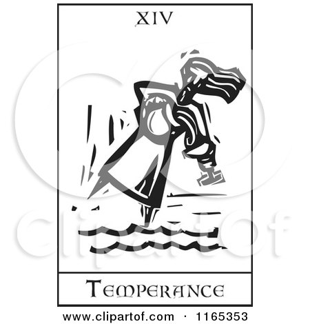 Clipart of a Tarot Card of Temperance Black and White Woodcut - Royalty Free Vector Illustration by xunantunich