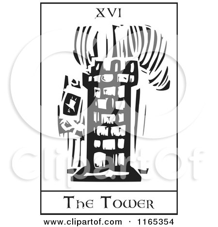 Clipart of a Tarot Card of the Tower Black and White Woodcut - Royalty Free Vector Illustration by xunantunich
