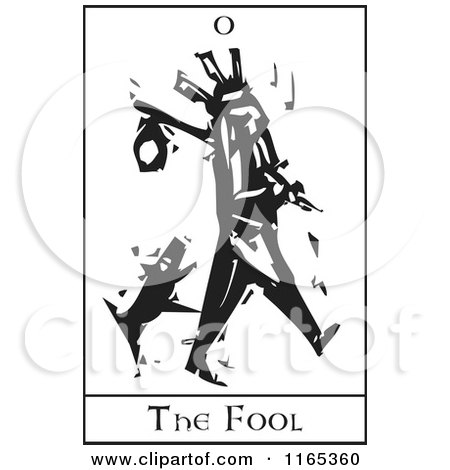 Clipart of a Tarot Card of the Fool Black and White Woodcut - Royalty Free Vector Illustration by xunantunich