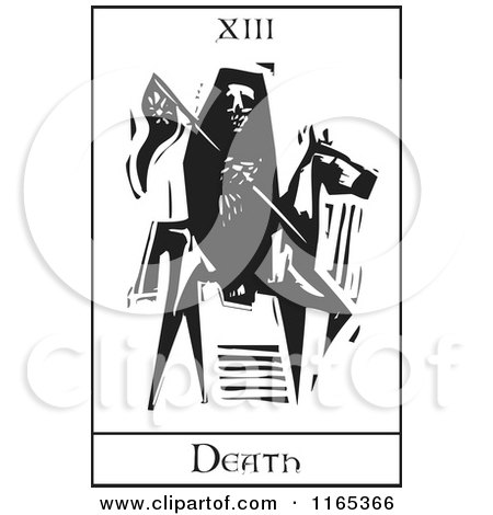 Clipart of a Tarot Card of Reaping Skeleton Horseman Death Black and White Woodcut - Royalty Free Vector Illustration by xunantunich