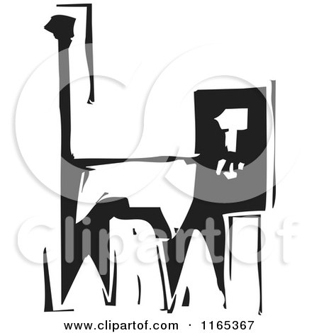 Clipart of an Alert Lion Black and White Woodcut - Royalty Free Vector Illustration by xunantunich