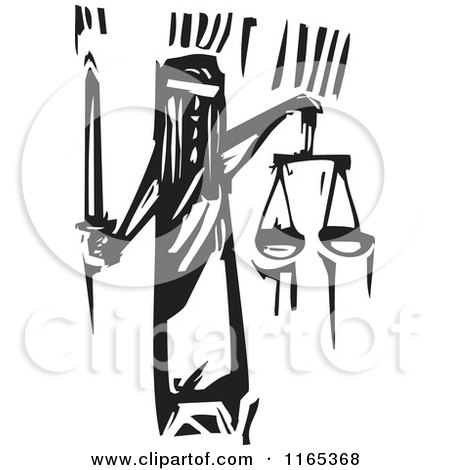 Clipart of Lady Justice with Scales and a Sword Black and White Woodcut - Royalty Free Vector Illustration by xunantunich