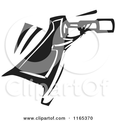 Clipart of an Astronomer Black and White Woodcut - Royalty Free Vector Illustration by xunantunich