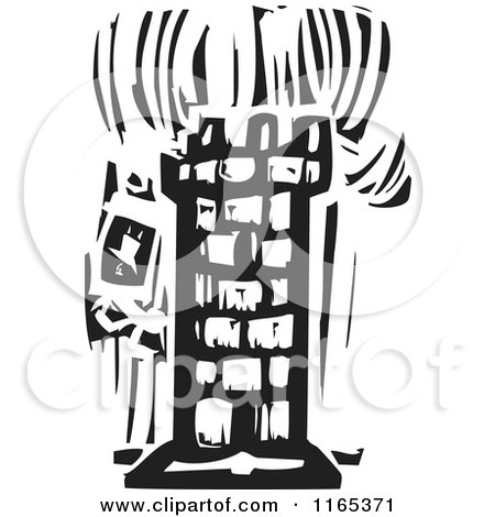 Clipart of a Burning Tower Black and White Woodcut - Royalty Free Vector Illustration by xunantunich
