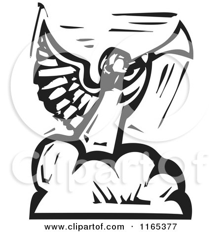 Clipart of an Angel Blowing a Trumpet on a Cloud Black and White Woodcut - Royalty Free Vector Illustration by xunantunich