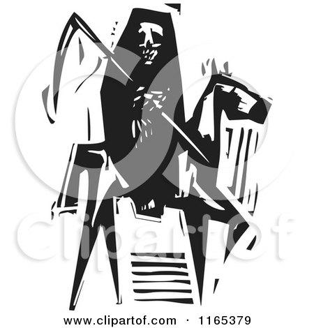 Clipart of a Reaping Skeleton Horseman Death Black and White Woodcut - Royalty Free Vector Illustration by xunantunich