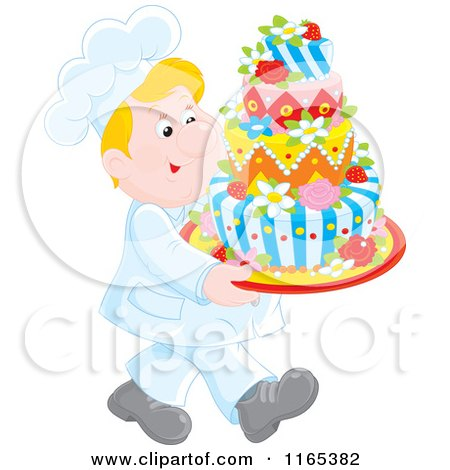 Cartoon of a Happy Blond Male Chef Carrying a Decorative Cake - Royalty Free Vector Clipart by Alex Bannykh