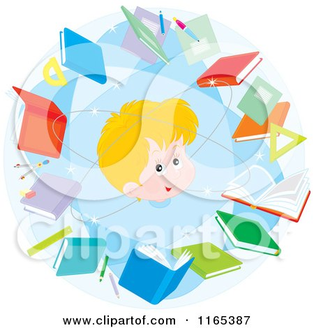 Cartoon of a Blond School Boy in an Atom of Books - Royalty Free Vector Clipart by Alex Bannykh