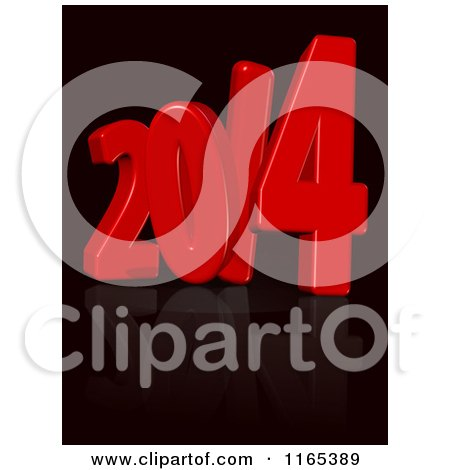 Clipart of a 3d Red Year 2014 over Black - Royalty Free CGI Illustration by MacX