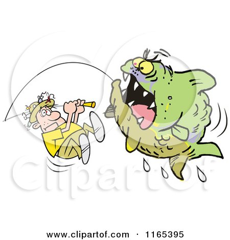 Cartoon of an Aggressive Monster Fish Being Reeled in by a Scared Fisherman - Royalty Free Vector Clipart by Johnny Sajem