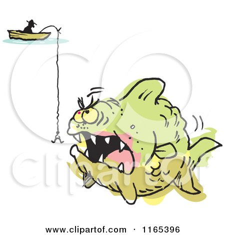 Cartoon of a Fisherman over a Hook and Aggressive Monster Fish Colored Outside of the Lines - Royalty Free Vector Clipart by Johnny Sajem