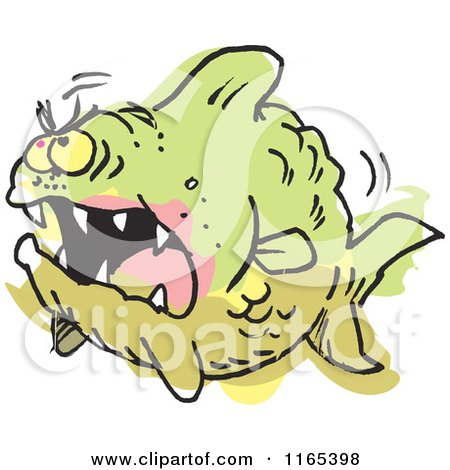 Cartoon of an Aggressive Monster Fish Colored Outside of the Lines - Royalty Free Vector Clipart by Johnny Sajem