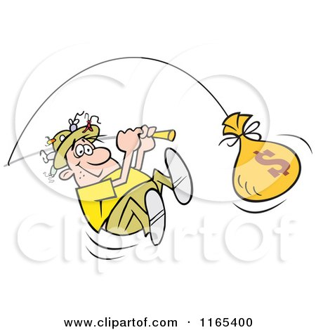 Cartoon of a Happy Fisherman Reeling in a Money Bag Catch - Royalty Free Vector Clipart by Johnny Sajem