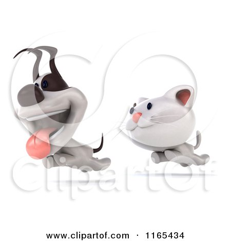 Clipart of a 3d White Kitten and Jack Russell Terrier Dog Running - Royalty Free CGI Illustration by Julos