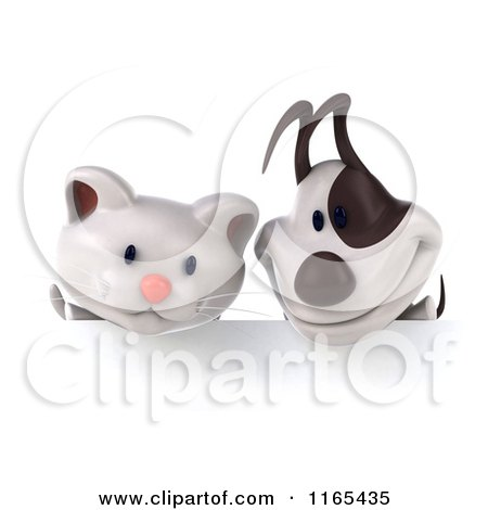 Clipart of a 3d White Kitten and Jack Russell Terrier Dog over a Sign Board 2 - Royalty Free CGI Illustration by Julos