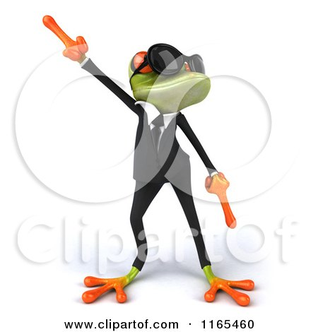 Clipart of a 3d Green Business Frog Wearing Sunglasses and Dancing - Royalty Free CGI Illustration by Julos