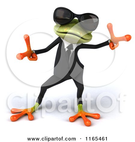 Clipart of a 3d Green Business Frog Wearing Sunglasses and Dancing 2 - Royalty Free CGI Illustration by Julos